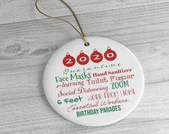 2020 quarantine ornament | pandemic Christmas | funny commemorative gift | toilet paper masks essential 6 feet