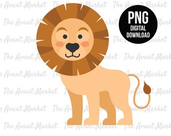Lion PNG Baby Cub sublimation instant digital download graphic clip art jungle safari zoo animal birthday baby shower scrapbooking