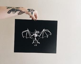A Bat Print   11 x 14 and 8 x 10