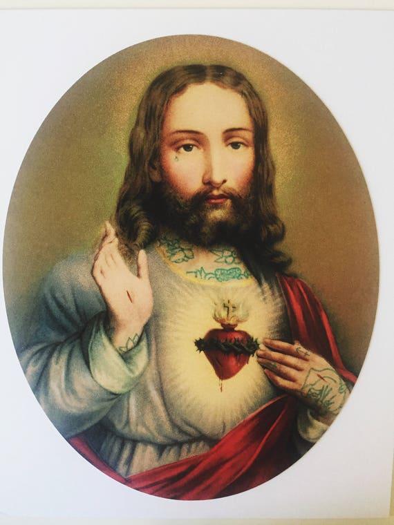 Najświętszego Serca Pana Jezusa Print Jezus Tattoo 8 x 10 | Etsy