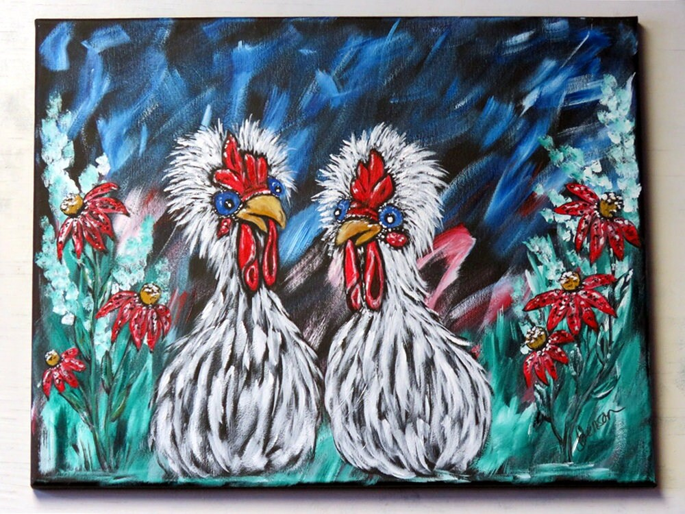 Chicken Wall Art, Original Acrylic Painting on Canvas, Whimsical ...
