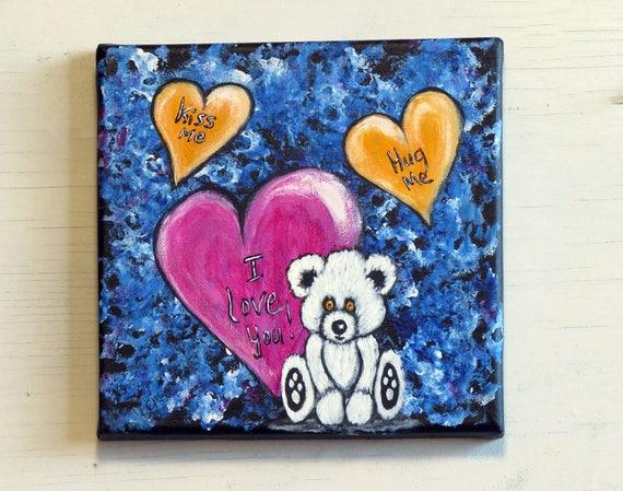 Valentinstag Geschenk Weißer Teddybär Malerei Kinderzimmer | Etsy