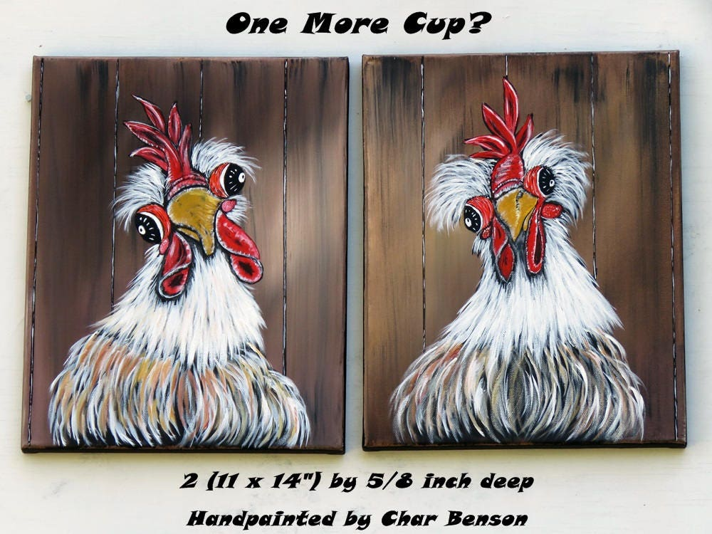 Original Acrylic Painting Country Kitchen Wall Art Whimsical Chicken