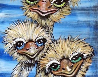 Ostrich ACEO Print, Collectors Artist Trading Cards, Limited Editions ACEO, Ostrich Emu Print from my Original Acrylic Painting, Gift Ideas
