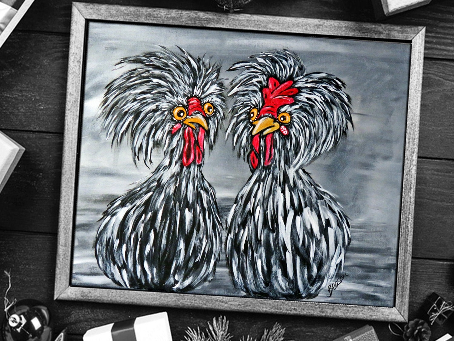 Original Acrylic Painting On Canvas Chicken Art Whimsical Kitchen