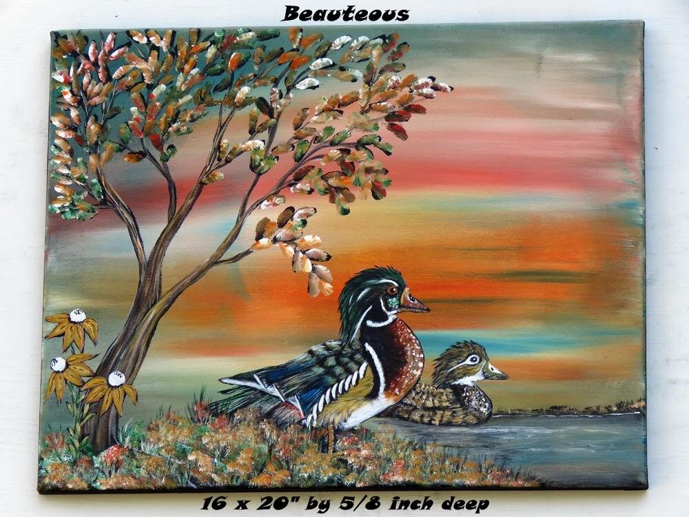 Wood duck Painting, Cabin Wall Decor, Lake house wall art Fall ...