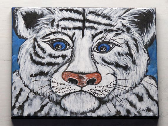 White Tiger Original Acrylic Painting on Stretched Canvas ...