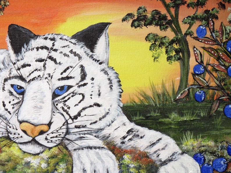 White Tiger Original Acrylic Canvas Painting Whimsical ...