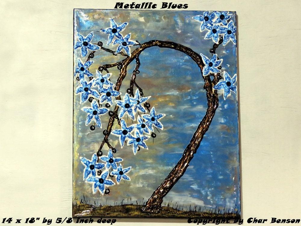 order wide range pick up Metallic Blues, 14 x 18 inch Original Canvas Painting, Cherry ...