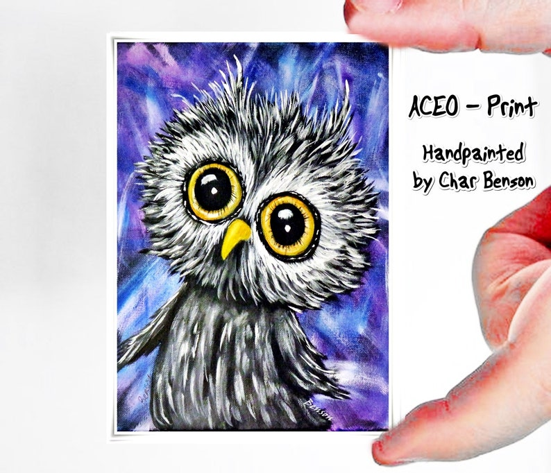 Owl ACEO Prints Miniature Owl Paintings Gift for Owl Lover Set of Three Artist Trading Cards Owl Fine Art Prints ACEO Collections