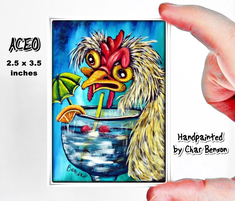ACEO Print ATC Card Artist Trading Card Rooster Print Gift for Chicken Lover Rooster Painting Drinking Chicken Card Fine Art Print