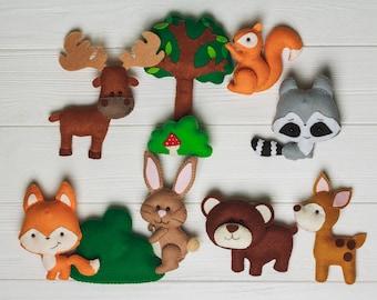 christmas gift for baby woodland baby felt play set organic stuffed animals racoon toy forest plush elk rabbit nursery decor mobile animals - Christmas Stuffed Animals