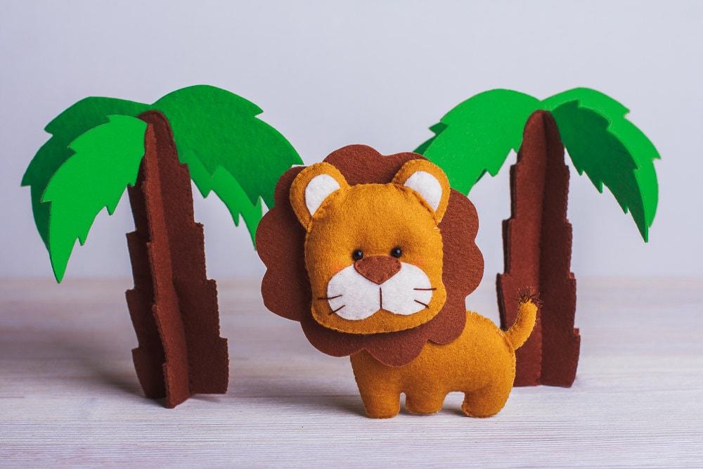 Felt Lion Ornament Jungle Stuffed Animals Jungle Nursery