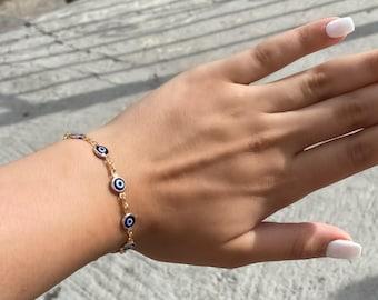 Evil Eye Chain  \u2022 Gold Filled Necklace \u2022 Mal de Ojo Jewelry \u2022 18K Gold filled \u2022 Turkish Talisman \u2022 Protection Jewelry \u2022 Handmade jewelry \u2022