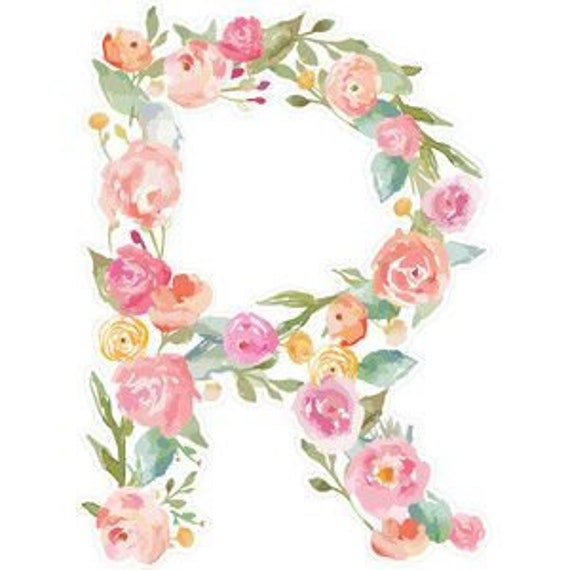 Watercolor Flower Letter Monogram Initial Temporary Tattoo Etsy