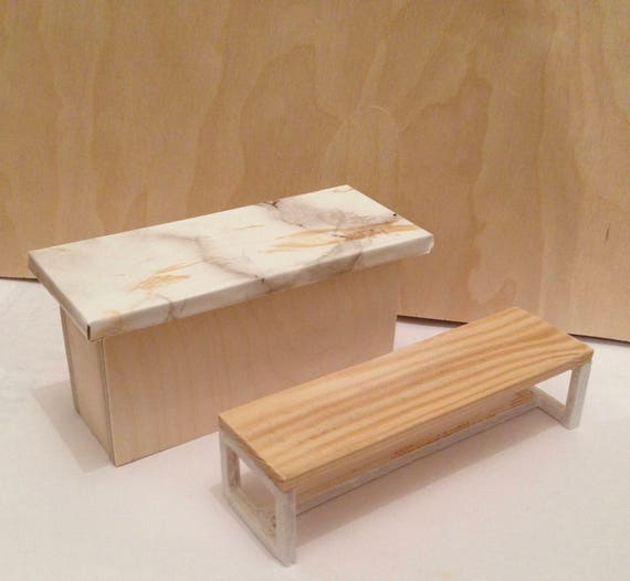 Handcrafted Dollhouse Kitchen Table Island And Bench Etsy