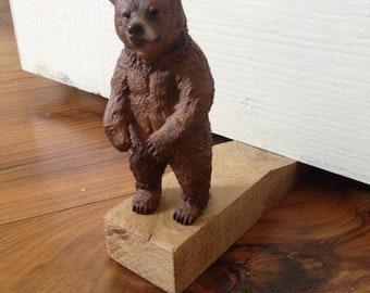 Brown Bear Oak Wooden Door Stop - Bedroom Door Stop - Animal Door Stopper - Bear Door Stopper & Bear door stop | Etsy