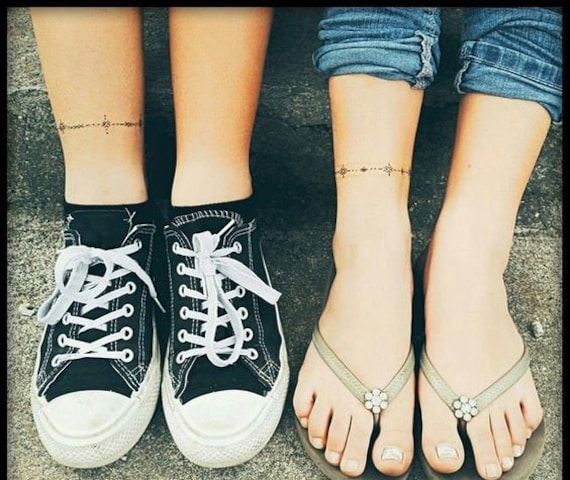 Graphic Yin Yang Moon Ankle Wrist Temporary Tattoo Jewellery Etsy
