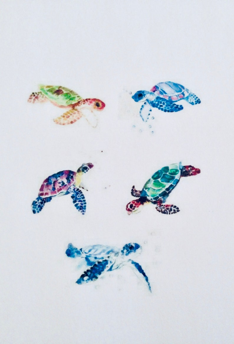 e9ec971b33975 Watercolor Turtle Temporary Tattoos Set of 5 Jewelry | Etsy