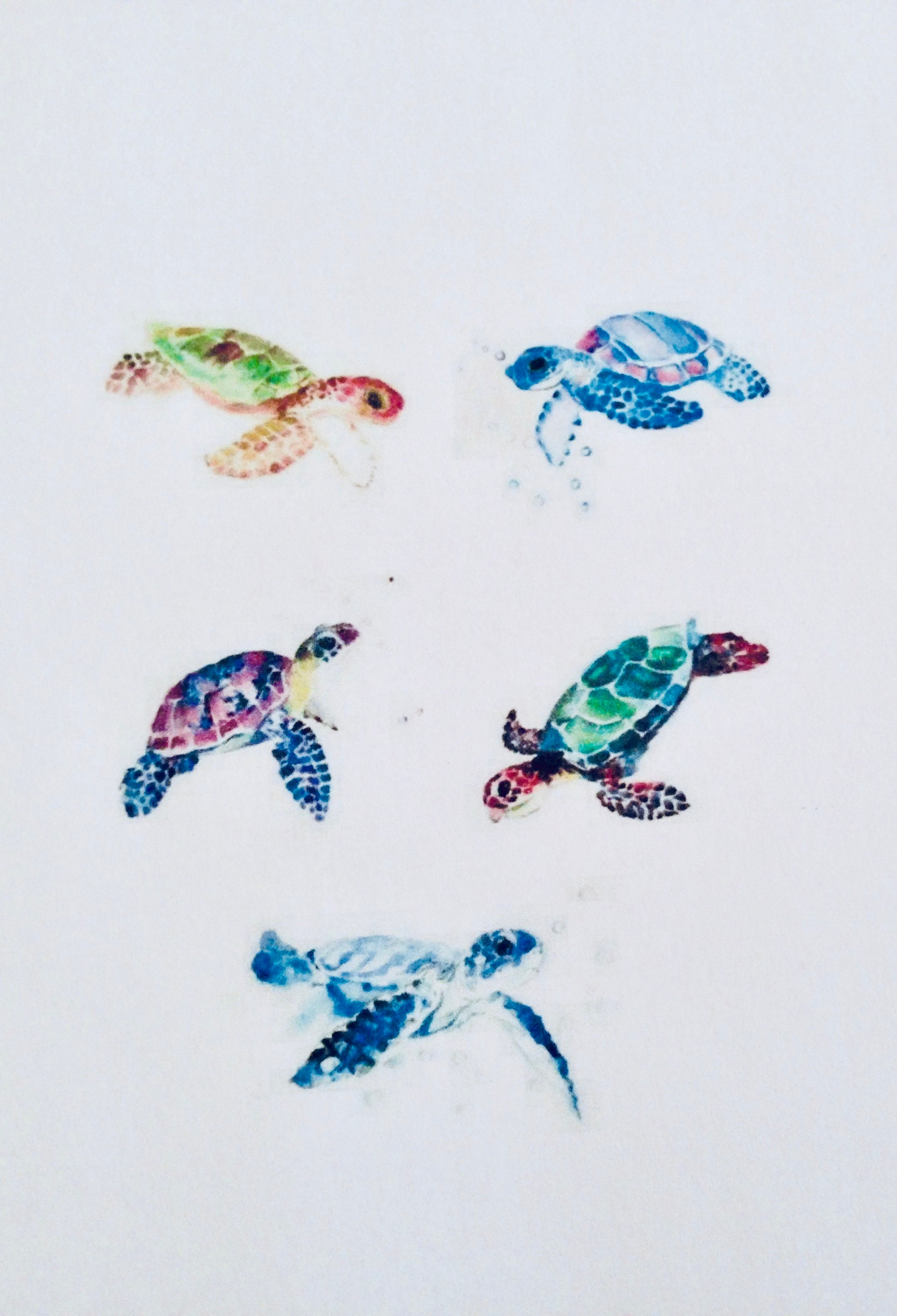 9ed5970a2 Watercolor Turtle Temporary Tattoos Set of 5 Jewelry | Etsy