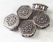5 STERLING SILVER PIll BoxBeads, Bali Beads, Vintage beads