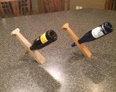 Balancing Baseball Bat Handle Wine Display Rack