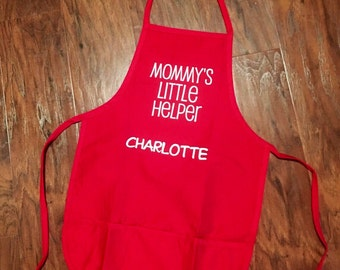 "Personalized child's apron for ""Mommy's Little Helper"""