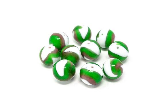 10 pcs Authentic Murano Glass Beads - Round Shape 16mm - Blown Glass Venetian Beads Handmade  - Italian - Lampwork Beads
