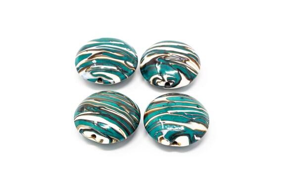 4 pcs Authentic Murano Glass Beads - Lentil shape 25mm - Blown Glass Venetian Beads Handmade  - Italian - Lampwork Beads