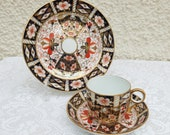 Collectable Vintage Royal Crown Derby Bone China Trio - Tea Cup, Saucer and Side Plate - Imari Pattern 2451 - 1920 39 s