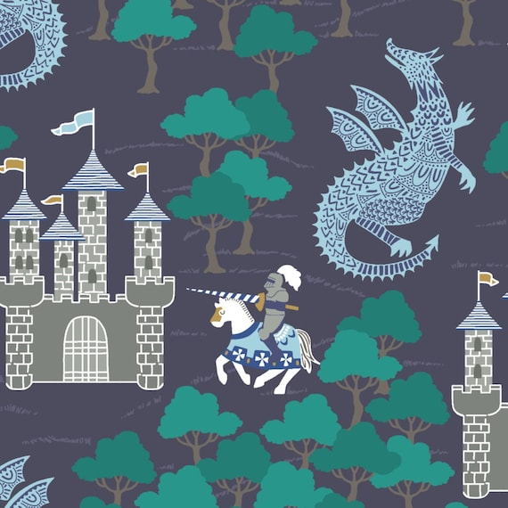 Change Pad Knights and Dragons Crib Bedding Knight Gray Blue Castle Raid Crib Sheet Castle Dragon Brave Knight Raid