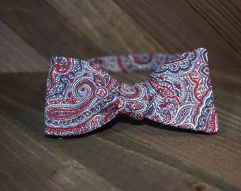 Red Paisley Self Tie Bow Tie