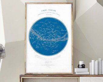 Carte Celeste, Constellation Print, Celestial Chart, Vintage French Art, Vintage Poster, Star Map, Sky Map, Constellation Map, Astronomy Art