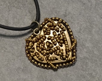 Brass Heart Bead Embroidered Pendant