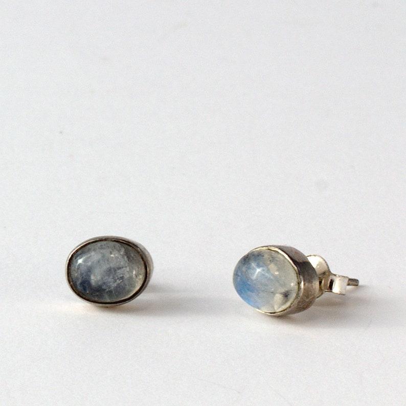 sterling silver earrings Moonstone earrings june birthstone earrings tiny stud earrings