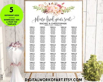 Find Your Seat Seating Chart Template, DIY Floral Boho Wedding Seating Poster printable, Editable PDF Template, instant download, #RC