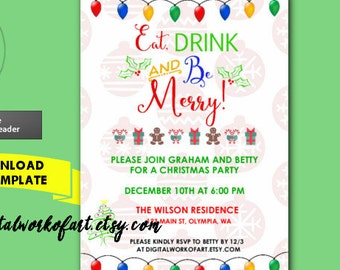 Eat Drink and Be Merry Invitation Template,  DIY Holiday Christmas Party Invite Home Office, Printable Invitation, Instant Download.