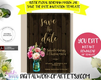 Floral Mason Jar Save the Date Invitation Template, DIY Rustic Wedding Editable PDF, Engagement Invitation, wood, boho, nstant download