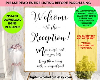 Welcome to Our Reception Sign, Welcome Wedding Reception Printable PDF Signs, DIY rustic wedding sign, mix and mingle, instant download, #SG
