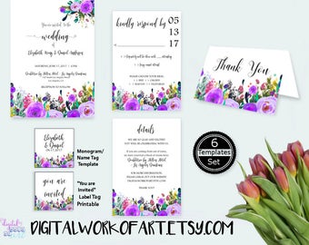 Lavender Floral Wedding Invitation Template Set Printable