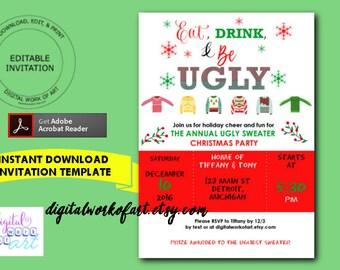 Jingle And Mingle Christmas Party Invitation Template Home Etsy