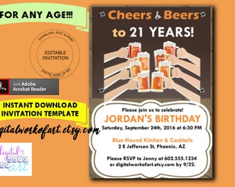 Cheers And Beers Invitation Template Men Women Birthday 21st 30th 40th 50th Bar Editable PDF Instant Download Alcohol