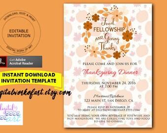 food fellowship giving thanks invitation template diy autumn fall thanksgiving dinner invitation template editable pdf printable turkey