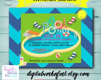 pool party invitation instant download swimming pool party invitation birthday editable pdf file dwoa invpool202 1 editable template
