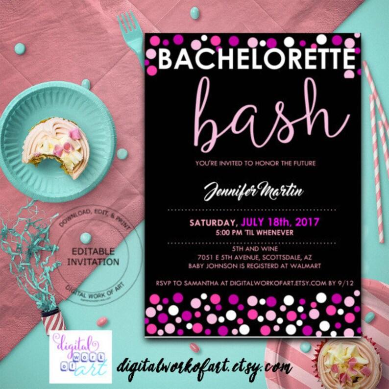 Bachelorette Party Invitation Template Invite Bash Ladies Night Digital Instant Download PDF Polka Dot