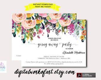 Going Away Party Invitation Template Printable, DIY Watercolor Floral Invitation, Instant Digital Download Invite, Editable PDF Template
