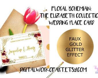 Floral Wedding Place Card Template, DIY Rustic Wedding Printable Table Escort Card, Reception Card, Editable PDF Template, Floral Boho, #LC