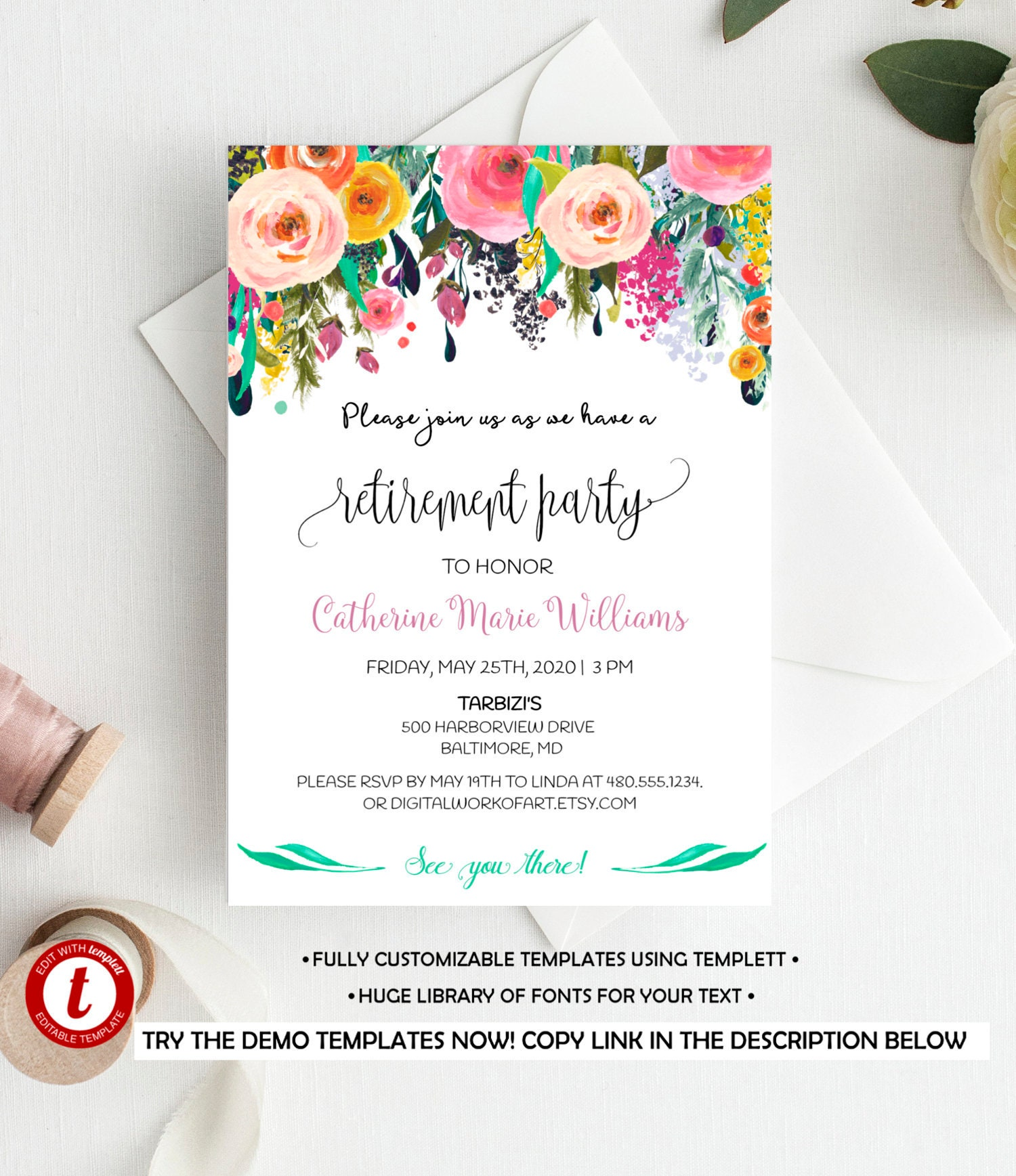 Fully Editable Retirement Party Invitation Template Printable Etsy
