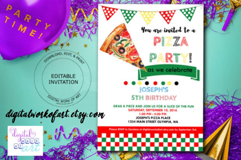 Pizza Party Invitation Template DIY Editable PDF School Office Birthday Instant Download Kids