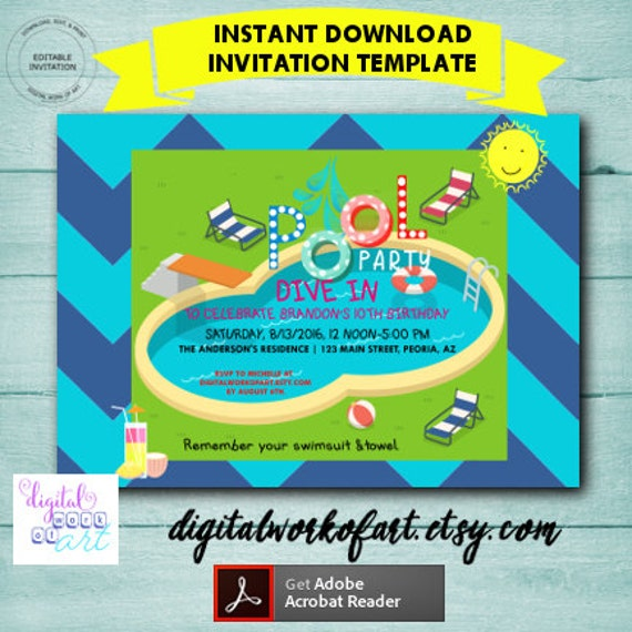 pool party invitation instant download swimming pool party etsy